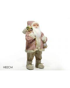 Babbo Natale Con Sacco E Lanterna Cm 82 Vestito Rosa