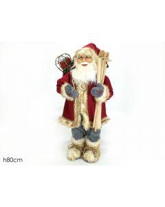Babbo Natale Con Sci H 80 Cm Vestito Rosso