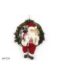 Ghirlanda App. Con Babbo Natale cm 41 Vestito Rosso