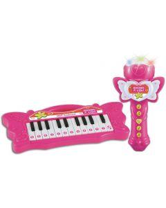 Tastiera 22 Tasti Con Microfono Karaoke Rosa - Bontempi 602171