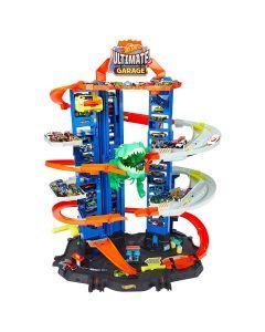 Hot Wheels City- Assalto del T-Rex Robot al Mega Garage Multipiano, GJL14