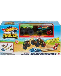 Hot Wheels- Monster Trucks Playset Doppia Distruzione 3in1, GYC80