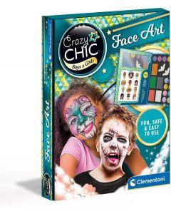 Clementoni- Crazy Chic-Face Art, Viso-truccabimbi Cofanetto con Trucchi, Make up