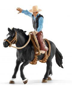 SCHLEICH- Cavallo da Rodeo con Cowboy, 41416