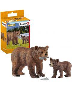 Mamma Orsa Grizzly con Cucciolo - Schleich 42473