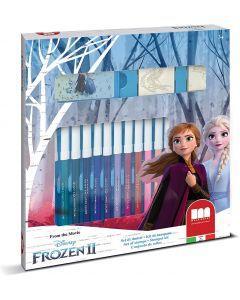 Set 2 Timbri per Bambini e 18 Pennarelli Colorati Disney Frozen 2 - Multiprint 86981