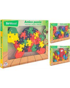 SirWood Puzzle in Legno Lettere E Numeri - Globo 40592 - Modelli Assortiti