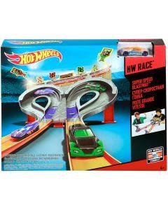 Hot Wheels Super Speed Blastway con Macchinina, Doppia Pista,  CDL49