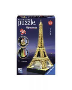 Ravensburger 12579 - Tour Eiffel Night Edition con Led, Puzzle 3D 216 Pezzi