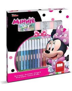 Set 2 Timbri per Bambini e 18 Pennarelli Colorati Disney Minnie - Multiprint 86866