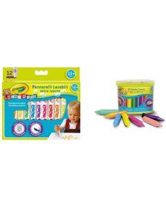 Crayola 12 Mini Pennarelli Super Lavabili e 24 maxi Pastelli a Cera