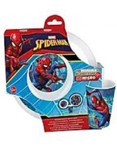 Spiderman - Set Pappa 3 pz 2 Piatti+Bicchiere -Real Trade 09450