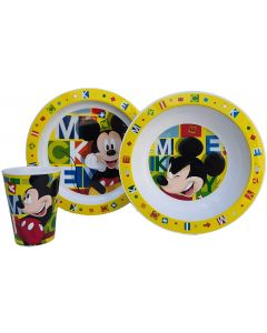 Mickey Mouse - Set Pappa 3pz 2 Piatti+Bicchiere - Real Trade 09454