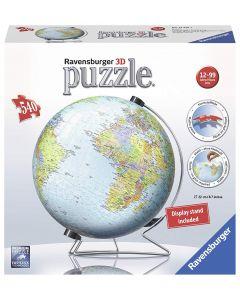 Ravensburger 12436 - Puzzle 3D Mappamondo 540 Pezzi