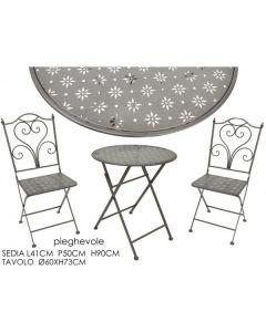 Set Tavolo 60 CM con 2 sedie pieghevoli grigio
